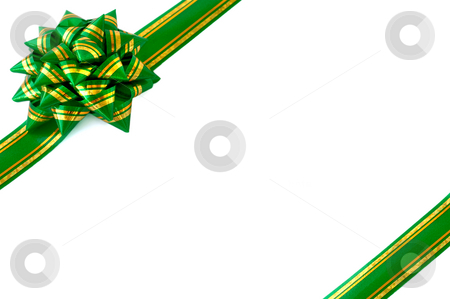 Gift wrap bow green stock photo, Green ribbon bow isolated white background christmas wrapping by Vladyslav Danilin
