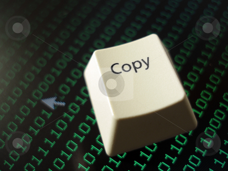 Computer copy key stock photo, A computer copy on a background on binary code by Stephen Gibson