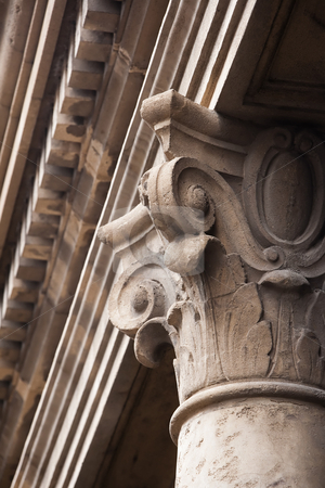 Old cement column topper stock photo, Old cement Corinthian style column topper by Scott Griessel