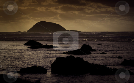 Maori Bay stock photo, Late afternoon sun on a stormy Maori Bay, near Muriwai Beach, North Island, New Zealand. by Robin Ducker