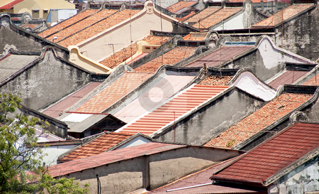 Chinese rooftops stock photo, Red tile rooftops in malacca's chinatown by Shi Liu