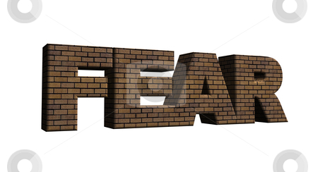 Fear stock photo, Bricked word fear on white background - 3d illustration by J?
