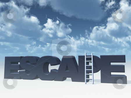 Escape stock photo, The word escape and a ladder in front of blue cloudy sky - 3d illustration by J?