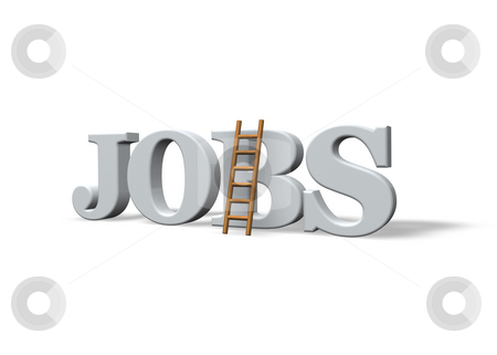 Jobs stock photo, The word jobs and a ladder on white background - 3d illustration by J?