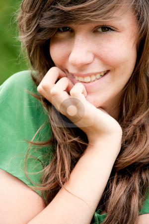 Happy green smile stock photo, Young fashionable girl in a happy mood by Frenk and Danielle Kaufmann