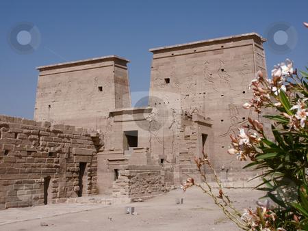 Philae temple stock photo, Philae Tempel, auf einer Insel im Assuanstausee / Philae temple by Thomas K?