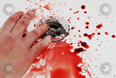 Suicide stock photo, Human hand and  blood in a bathroom: suicide in a tub by Bonzami Emmanuelle