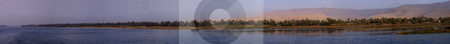 Panorama from the right Nile bank stock photo, Panorama vom rechten Nilufer zwischen Luxor und Assuan / Panorama from the right Nile bank between Thebes and Aswan by Thomas K?