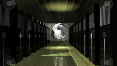 Web Server Room stock photo, World wide web servers in room with Earth at center by Ira J Lyles Jr