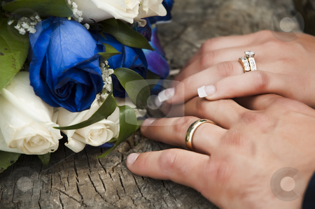 Wedding rings stock photo, Just married couple showing their wedding rings by Vlad Podkhlebnik