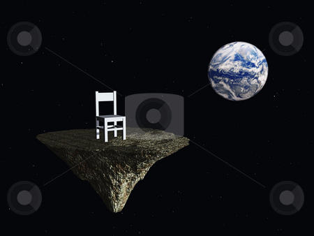 Blue planet stock photo, Lonely chair and earth in space - 3d illustration by J?