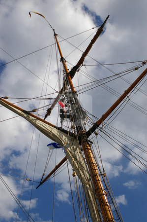 Ships Mast stock photo, A ships mast reaching high into the sky. by Tom Weatherhead