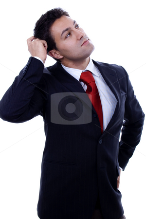 Ok man stock photo, Man with thinking expression white isolate portrait by Marc Torrell