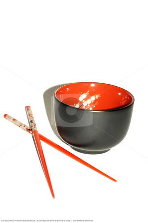 Chines Set stock photo, Chinese set with one bowl and chopsticks in red and black. by Dasha Denger