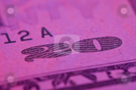Macro 20 dollar bill stock photo, Macro 20 dollar bill with pink tint by Chris Roselli