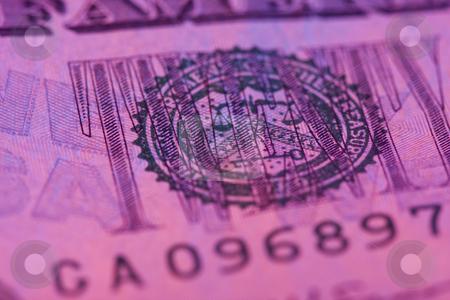 Macro twenty dollar bill stock photo, Macro twenty dollar bill with pink tint by Chris Roselli