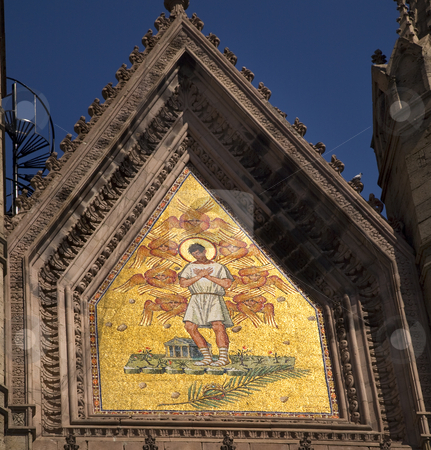 Religious Mural Temple of Atonement Mexico stock photo, Religious Mural on Top of Church Facade, Temple of Atonement, Templo Expiatorio, Guadalajara, Mexico by William Perry