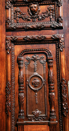 Brown Wooden Door Government Palace Guadalajara stock photo, Dark Brown Wooden Door Government Palace, Guadalajara, Mexico by William Perry