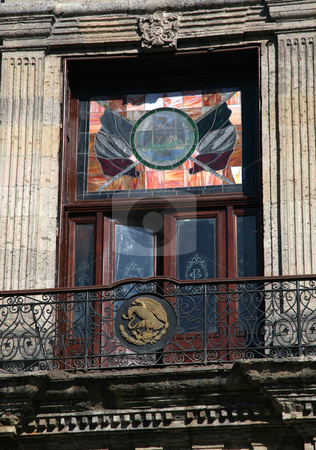 Government Palace Window, Guadalajara, Mexico stock photo, Government Palace Window and Balcony with flag and eagle decorations, Guadalajara, Mexico by William Perry