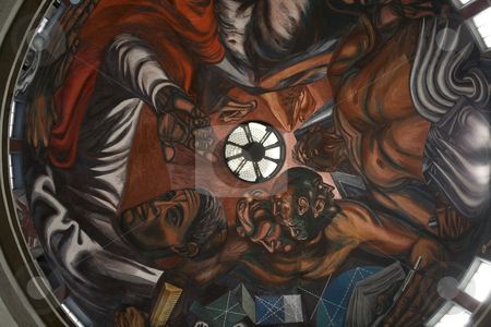 Orozco Mural University of Guadalajara, Mexico stock photo, Mural by Jose Clemente Orozco in the University of Guadalajara, Mexico.  This mural is in the dome above the class room.  Orozco died in 1939. by William Perry