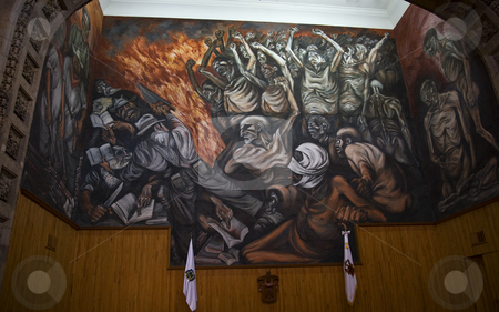 Orozco Mural University of Guadalajara, Mexico stock photo, Mural by Jose Clemente Orozco in classroom in the University of Guadalajara, Mexico.  Orozco died in 1939. by William Perry