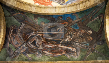 Orozco Mural Cabanas Cultural Institute Guadalajara, Mexico stock photo, Orozco Mural of Spanish Invasion of Mexico, Cabanas Cultural Institute, Guadalajara, Mexico  Orozco painted this mural in the late 1930s and died in 1949. by William Perry