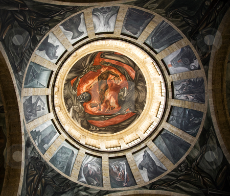 Orozco Hell Dome Cabanas Cultural Institute Mexico stock photo, Clemente Orozco Mural of Hell in Dome Cabanas Cultural Institute, Guadalajara, Mexico.  This is part of a long mural, which is considered Orozco's Sistine Chapel.  Orozco painted this mural in the late 1930s and died in 1949. by William Perry