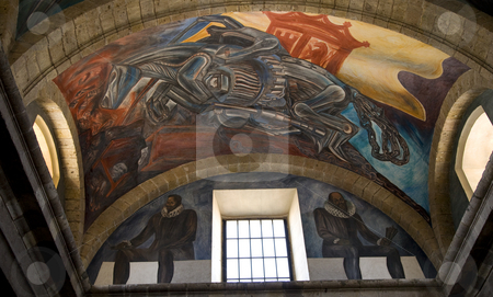 OROZCO MURAL CABANAS CULTURAL INSTITUTE stock photo, Mural by Clemente Orozco of Cervantes and Mechanical Invasion, Cabanas Cultural Institute, Guadalajara, Mexico.  Orozco painted this mural in the late 1930s and died in 1949.  This is considered Orozco's Sistine Chapel. by William Perry
