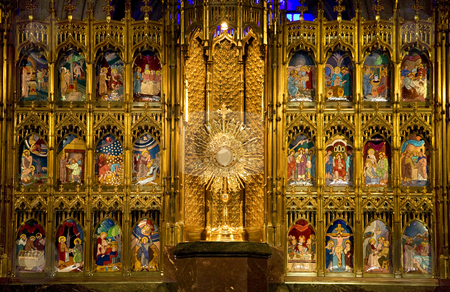 Golden Altar Close Up Temple of Atonement Guadalajara stock photo, Golden Altar Close Up with Biblical Stories, Temple of Atonement, Templo Expiatorio, Guadalajara, Mexico by William Perry