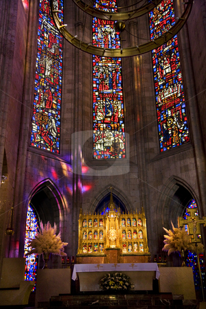 Temple of Atonement Stained Glass Altar Close stock photo, Temple of Atonement, Templo Expiatorio, Guadalajara, Mexico  Inside View with stained glass windows and altar close up by William Perry