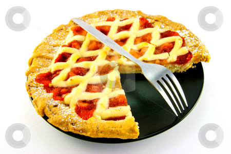Apple and Strawberry Pie with a Slice Missing stock photo, Whole apple and strawberry pie with a small fork on a black plate with a slice missing on a white background by Keith Wilson