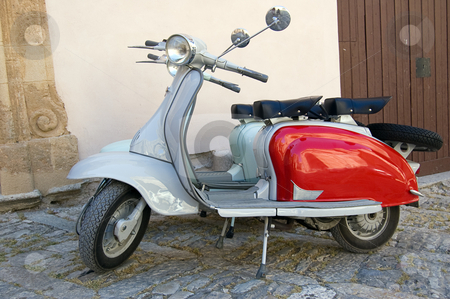 Famous old fashioned italian scooter stock photo, Famous old fashioned Italian scooter restyled in perfect conditions by Roberto Marinello