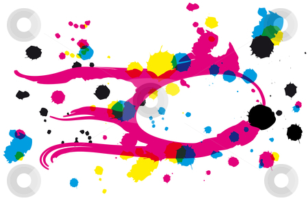 Drawing with CMYK inkblots stock vector clipart, Drawing with CMYK inkblots in transparency look by Karin Claus