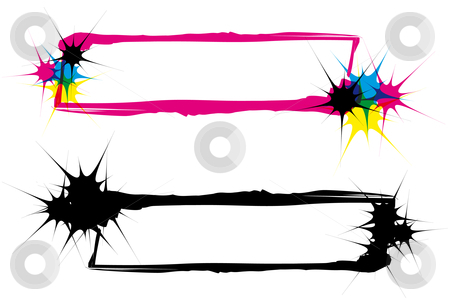Inkblots frames CMYK and silhouette stock vector clipart, Two abstract inkblot frames in CMYK with transparency by Karin Claus