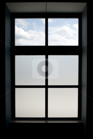 Window Frame stock photo, Interior view of a modern window that has frosted glass on the lower panes. by Todd Arena