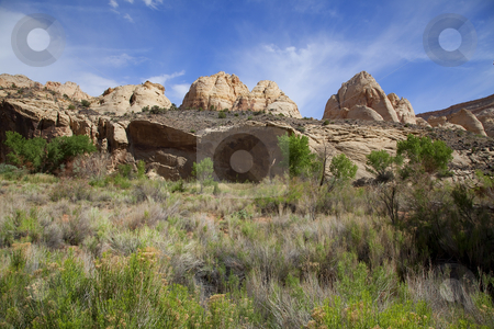 Capitol Reef National Park stock photo, View of the red rock formations in Capitol Reef National Park with blue sky by Mark Smith