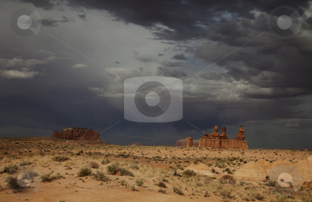Goblin Valley stock photo, View of red rock formations in Goblin Valley with a storm by Mark Smith