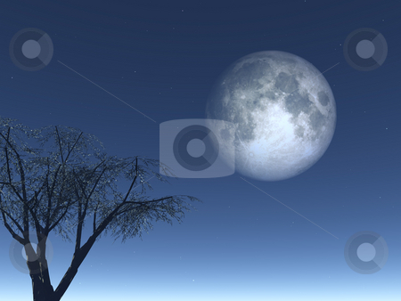 Luna stock photo, Full moon and  tree at night - 3d illustration by J?
