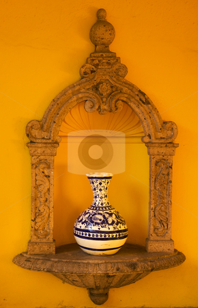 Yellow Adobe Wall Blue Vase Mexico stock photo, Yellow Adobe Wall, Blue White Mexican Vase, Guadalajara Mexico by William Perry