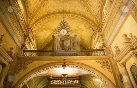 Organ Yellow Arch Basilica Guanajuato Mexico stock photo, Organ Yellow Arch Back of Church, Basilica of Our Lady of Guanajuato, Basilica de Nuestra de Senora de Guanajuato, Mexico by William Perry