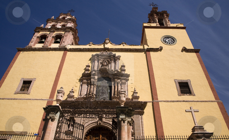 Steeples Door Bells Basilica Guanajuato Mexico  stock photo, Steeples, Door, Front, Basilica of our Lady of Guanajuato, Basilica De Nuestra Senora De Guanajuato, Mexico by William Perry