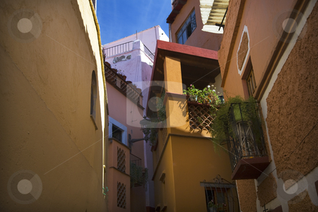 Kiss Alley Guanajuato Mexico stock photo, Alley of the Kiss, Guanajuato, Mexico, Close Colorful houses and balconies by William Perry