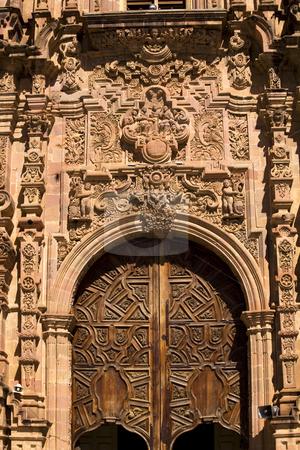 Ornate Wooden Door Valencia Church Guanajuato Mexico stock photo, Ornate Wooden Door Valencia Church, Templo de San Cayetano, Guanajuato, Mexico by William Perry