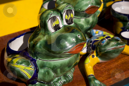 Ceramic Frogs Guanajuato Mexico stock photo, Mexican Ceramic Frog, Yellow Wall, Guanajuato, Mexico.  Guanajuato is known as the Frogs Place for the mountains around the city that look like frogs. by William Perry