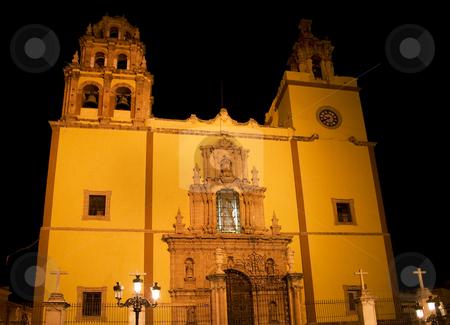 Basilica Guanajuato Mexico at night stock photo, Basilica Coelgiata de Nuestra, Guanajuato, Mexico.  Yellow Catholic Church at Night by William Perry
