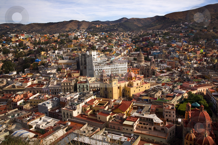 Churches Colored Houses El Pipilia Overlook Guanajuato Mexico stock photo, San Diego Church, Basilica, University, colored houses, Guanajuato Mexico Overview from Pipila hill  No Trademarks
