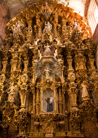 Golden Altar Piece Valencia Church Guanajuato Mexico stock photo, Golden Ornate Altar Piece, Templo De San Cayetano, Valencia, Church, Guanajuato, Mexico.  This church was finished in 1788 and is named after the nearby Valencia mine. by William Perry