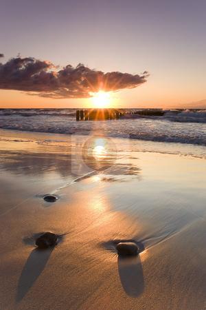 Sunset stock photo, A beautiful sunset over Baltic Sea, Poland by Adam Kraszewski