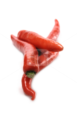 Chili stock photo, Bright red chili peppers on a white background. Shallow depth of field by Martin Darley