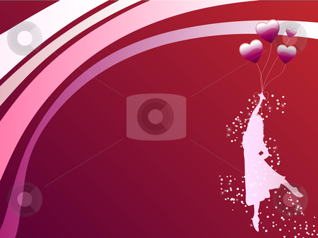 Girl Red Balloon stock vector clipart, Girl flying and holding Heart shaped balloons by Augusto Cabral Graphiste Rennes